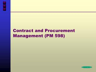 Contract and Procurement Management (PM 598)