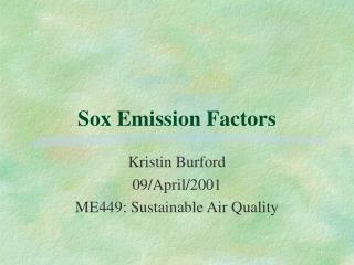 Sox Emission Factors