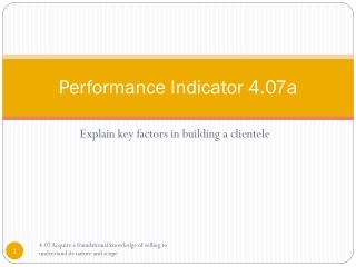 Performance Indicator 4.07a