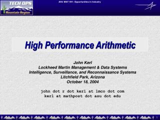 High Performance Arithmetic