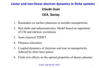 Linear and non-linear electron dynamics in finite systems