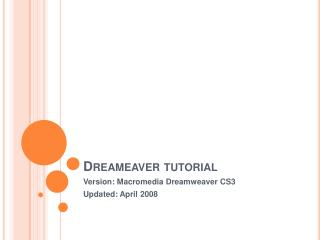 Dreameaver  tutorial