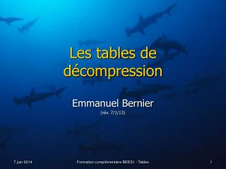 Les tables de décompression