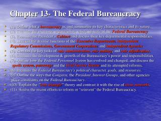 Chapter 13- The Federal Bureaucracy