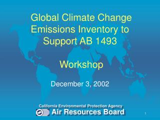 Global Climate Change Emissions Inventory to Support AB 1493  Workshop