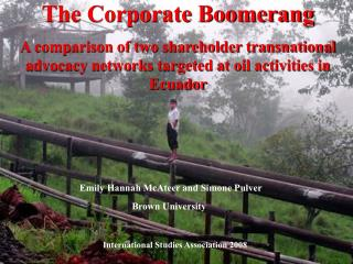 The Corporate Boomerang A comparison of two shareholder transnational advocacy networks targeted at oil activities in Ec