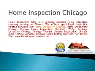 Home Inspection Chicago Service by homeinspectionstar.com