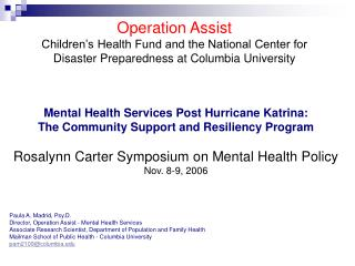 Operation Assist Children's Health Fund and the National Center for Disaster Preparedness at Columbia University