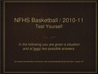NFHS Basketball / 2010-11 Test Yourself