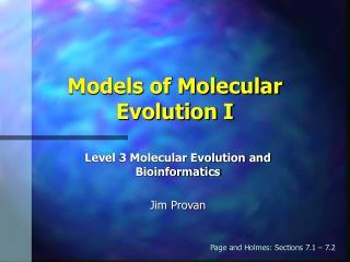 Models of Molecular Evolution I