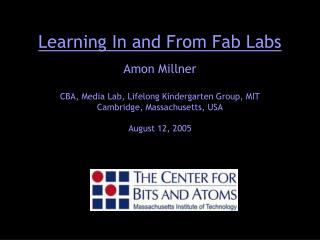 Learning In and From Fab Labs