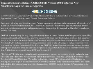 corcentric soon to release cor360(tm), version 10.0 featurin