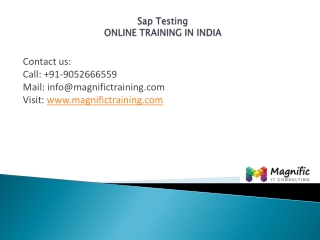 SAP Testing online training in india@magnifictraining.com