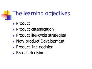 The learning objectives