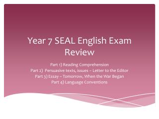 Year 7 SEAL English Exam Review