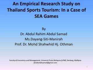 An Empirical Research Study on Thailand Sports Tourism: In a Case of SEA Games