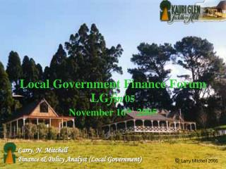 Local Government Finance Forum LG fin' 05 November 16 th   2005