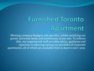 Furnished Rental Apartments Toronto
