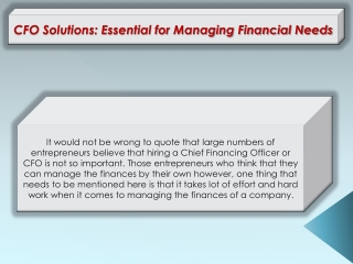 CFO Solutions: Essential for Managing Financial Needs