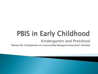 PBIS in Early Childhood