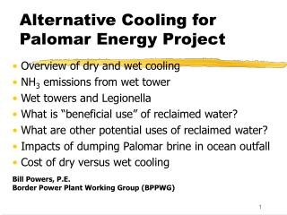 Alternative Cooling for Palomar Energy Project