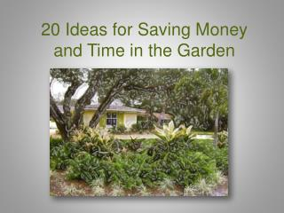 20 Ideas for Saving  M oney and Time in the Garden