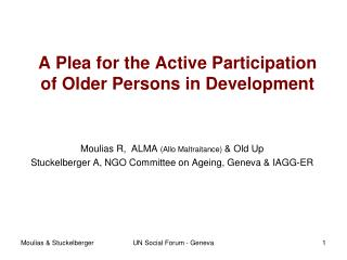 A  Plea  for the Active Participation  of  Older Persons in  Development