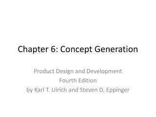 Chapter 6: Concept Generation