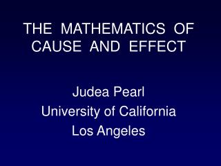 Judea Pearl University of California Los Angeles