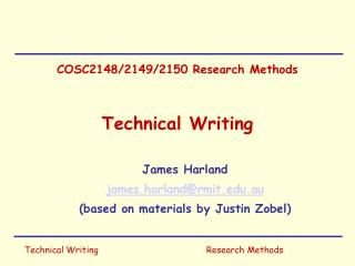 COSC2148/2149/2150 Research Methods Technical Writing