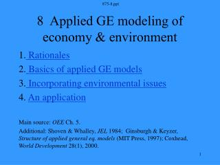 8  Applied GE modeling of economy & environment