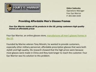 Providing Affordable Men's Glasses Frames