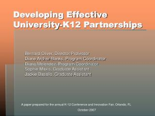 Developing Effective University-K12 Partnerships
