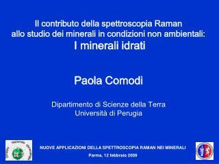 NUOVE APPLICAZIONI DELLA SPETTROSCOPIA RAMAN NEI MINERALI Parma, 12 febbraio 2009
