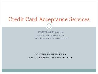 Credit Card Acceptance Services