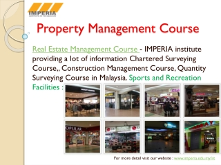 Property Management Course at Imperia institute Technology i