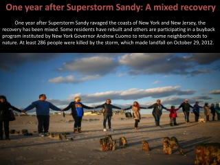 One year after Superstorm Sandy: A mixed recovery