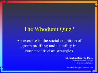 The Whodunit Quiz?