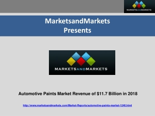 Automotive Paints Market Revenue of $11.7 Billion in 2018