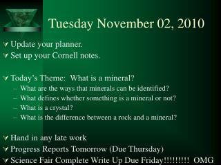 Tuesday November 02, 2010