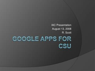 Google  Apps for CSU