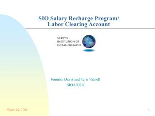 SIO Salary Recharge Program/ Labor Clearing Account