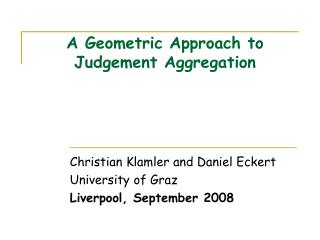 A Geometric Approach to Judgement Aggregation