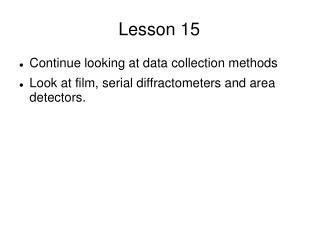 Lesson 15