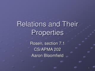 Relations and Their Properties