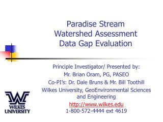 Paradise Stream Watershed Assessment Data Gap Evaluation