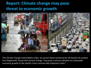 Climate change may pose threat to economic growth
