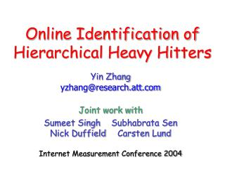 Online Identification of Hierarchical Heavy Hitters