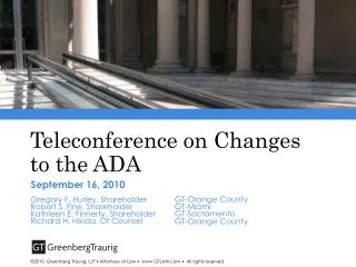 Teleconference on Changes to the ADA