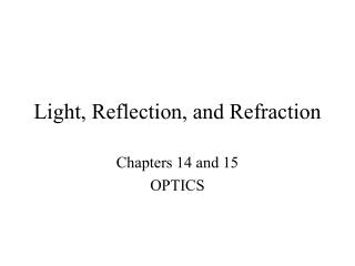 Light, Reflection, and Refraction